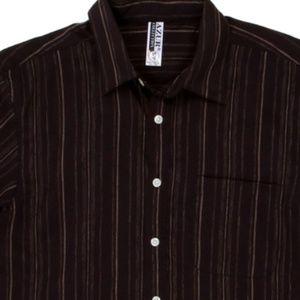 NEW Short Sleeve Casual Shirt Black Striped